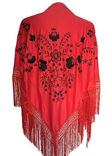 La Señorita Mantones Bordados Flamenco Manton De Manila Rojo Negro Grande Con Flecos Rojo