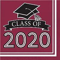 Creative Converting 343310 Class of 2020 ブルゴーニュグラッドナプキン 6.5インチ