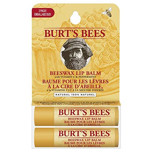 Burt's Bees Baume À Lèvres Hydratant 100% D'Origine Naturelle, Lot De Deux, Cire D'Abeille, Coffret Blister De 2Sticks 8.5 gramme