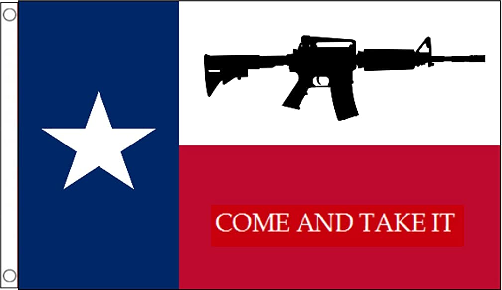 Texas US State 'Come And Take It' M4 Assault Rifle - 5'x3' (150cm x 90cm) Flag