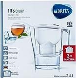 Brita Fill & Enjoy filtro de agua Aluna, Blanco 2,4L Incluye 3x Cartuchos Maxtra) (Inicio del paquete) metros