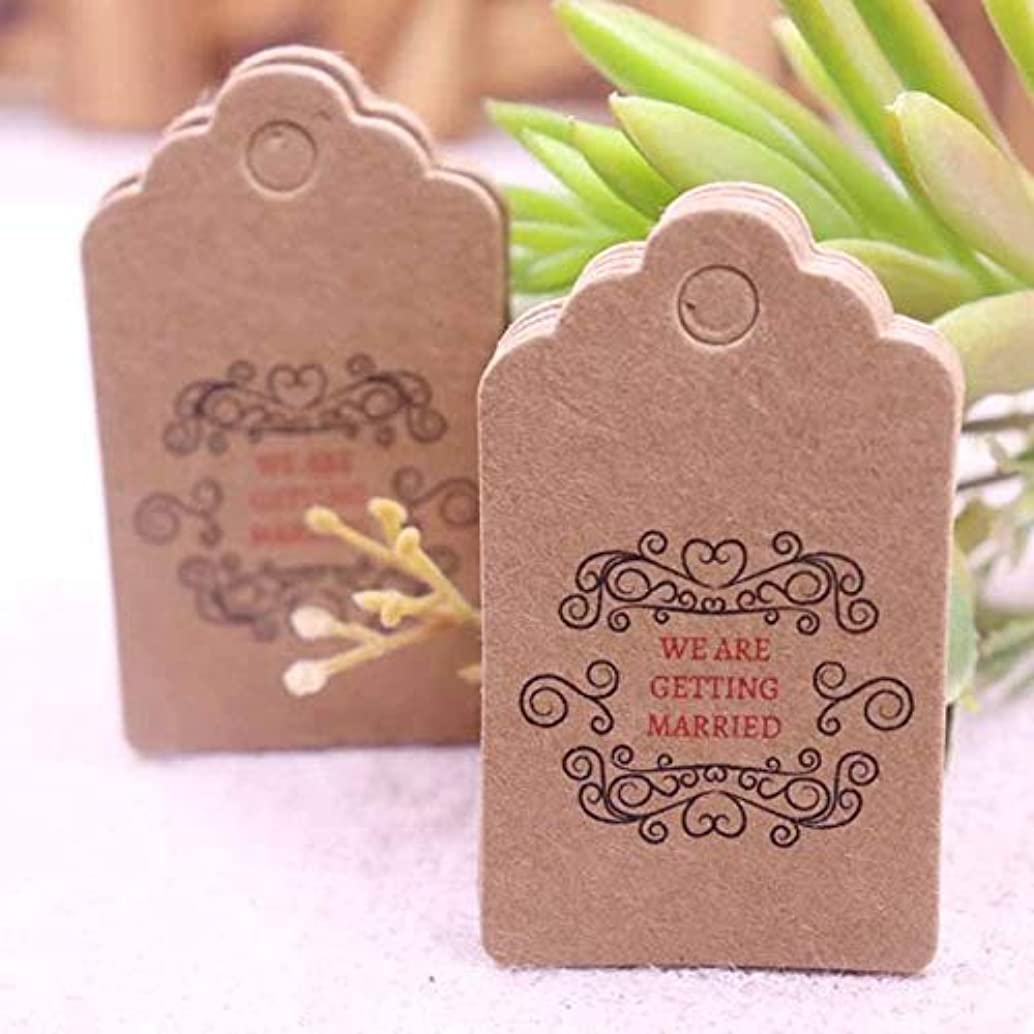OBELLA BOUTIQUE 100PCS white Paper Tags With Jute Twine For DIY Gifts Crafts Price Tags Luggage Tags wedding beautifui cute heart tags 5x3cm