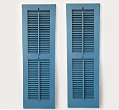 Timberlane Outdoor Cedar Shutter Pair with Operable Louvers - Painted Blue 15