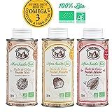 La tourangelle Pack de 3 Huiles Gourmandes Bio Colza Fruitée Noix/Noisette/Sésame 100% Bio/Gourmandes Naturellement Riches en Oméga 3 3 x 250 ml