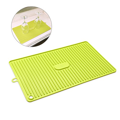 Silicone Dish Drying Mat Toxic FreeEasy Clean Dishwasher Safe Heat ResistantTrivet for Kitchen Countertop Sink, Green, 8.7X15.6 in