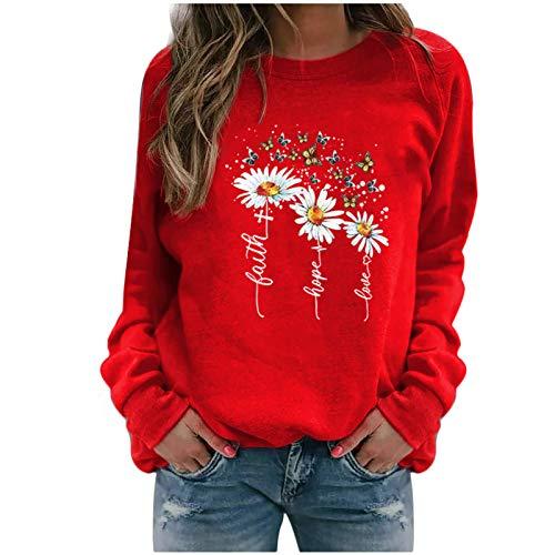 Xmiral Sweatshirt Pullover Damen Langarm Rundhals Gedruckt Lässiger Blusen Oberteile Herbst Winter Lose Warmes Bottoming Shirt(a-Rot,M)