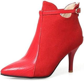 cee11ba0dfa41 Unm Womens Chic Buckle Strap Stiletto Kitten Heel Booties Inside Zip Up  Dress Pointy Toe Ankle Boots ...