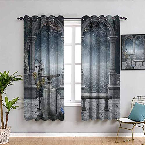 Cortinas opacas de alta calidad con diseño de colibrí, tela impermeable, color gris