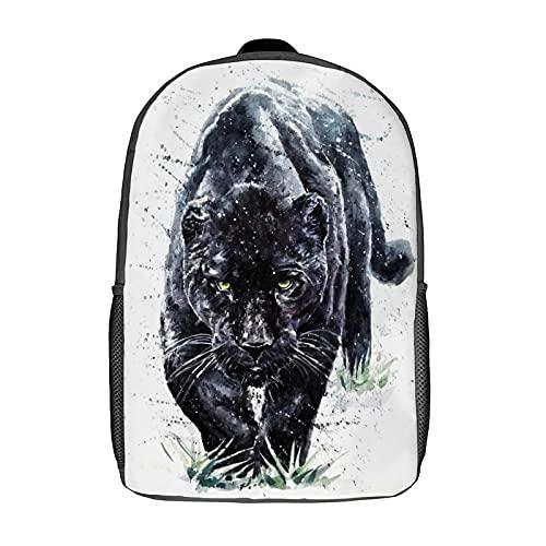 Qtchenglj Travel Laptop Backpack,Beautiful Panther Watercolor Painting Predator Animals Jaguar Big Black,Large Business Water Resistant Anti Theft Computer Daypack Slim Durable