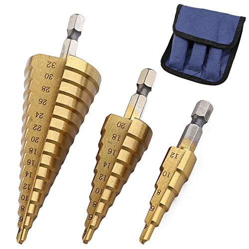 3Pcs High-Speed Steel Step Drill Bit Set, LepoHome Cone Titanium Coated Metal Hole Cutter 1/4' Hex Shank Drive Quick Change 4-12mm/4-20mm/4-32mm