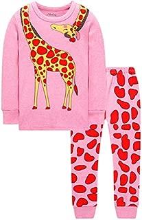 Image of Long Sleeve Cotton Pink Giraffe Pajama Set for Girls - See More