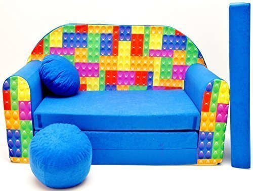 Pro Cosmo C32-Divano letto per bambini con pouf/poggiapiedi/cuscino, in tessuto, multicolore, Cotone, 168 x 98 x 60 cm