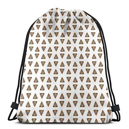 Hangdachang Mochila con cordón para caca y emoticono 3D Print String Bag Sackpack Cinch Tote Bags Regalos para las mujeres Hombres Gimnasio Compras Deporte Yoga