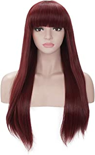 Morvally Women's 26 inches Long Straight Burgundy Synthetic Resistant Hair Wigs with Bangs Natural Looking Wig for Women Halloween Cosplay (Burgundy)