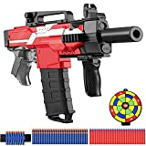 Pistola Eléctrica de Juguete con Clip de 12 Dardos, MP7A1 Automática para Nerf Flechas + 100 Balas Espuma + Batería Recargable USB, 3 Modos de Disparo, Regalos para 5-15 años niño, Adolescente, Adulto