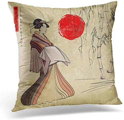 KINGAM Funda de cojín de 50 x 50 cm, Geisha antigua Japón, clásica japonesa, de dibujo, hermosa decoración del hogar, funda de almohada cuadrada para cama sofá