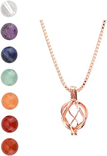 CrystalTears Diffuser Necklace Lava Rock Stone & 7 Chakra Healing Crystal Beads Rose Gold Locket Pendant Necklace