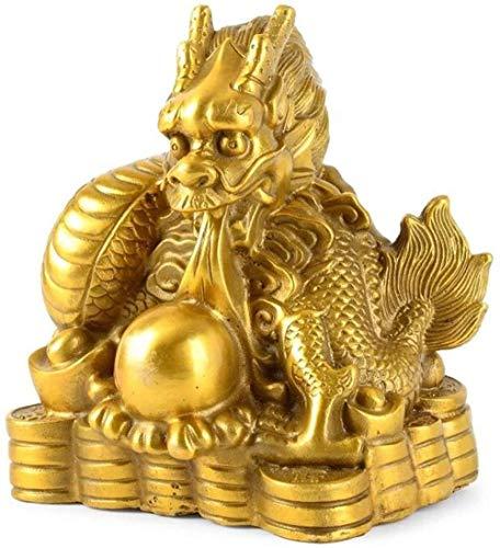 Estátuas do zodíaco chinês Fengshui decoração de casa presente colecionável riqueza dourada estatueta de riqueza Feng Shui decoração de latão ratos, estátua-dragão melhorar