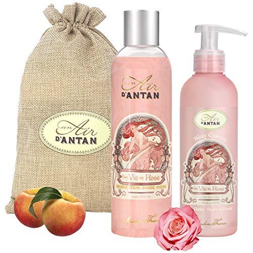 Un Air d'Antan Caja Belleza Rose Mujer,1 Gel de Ducha 250ml, 1 Crema Corporal Hidratante 200ml/ Perfume Original Melocotón, Petalos de Rosa, Pachulí