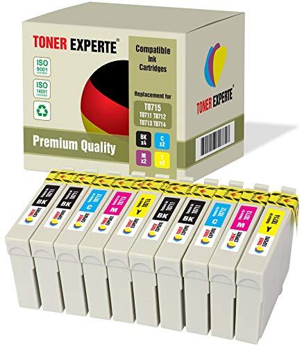 10 XL TONER EXPERTE® Compatibles T0715 Cartuchos de Tinta para Epson Stylus SX100 SX115 SX200 SX210 SX215 SX218 SX400 SX415 SX515W DX4000 DX7450 DX8400 DX8450 Office BX300F BX310FN BX600FW BX610FW
