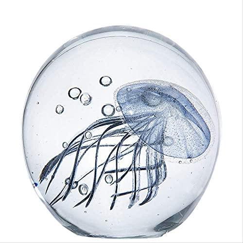 Ybzx Adornos de Medusas Fluorescentes Luminosas de simulación de decoración de paisajismo de peceras Adornos de Medusas de Vidrio esmaltado de Vida Marina