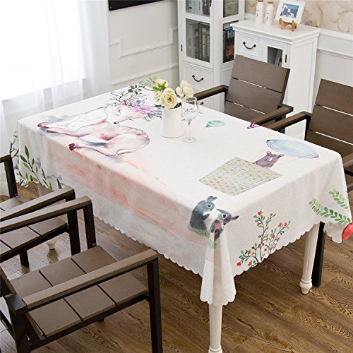"""OstepDecor Printed Tablecloth Fresh Style 100% Polyester Summer and Spring Indoor/Outdoor Waterproof Table Cloth for Patio, Picnic, BBQ, Kitchen Table Linens - Square, 47"""" x 47"""""""