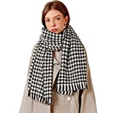 Ruixiang Super Soft Houndstooth Scarf Luxurious Cashmere Feel Winter Scarf For Women Blanket Chunky Oversized Scarves Wrap Shawl (Black)