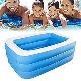 Iraza Aufblasbarer Pool, Family Pool, Schwimmbecken rechteckig für Baby,Kinder, Jugendliche und Erwachsene, für Garten und Outdoor,verschleißfester, verdickter Pool,leicht aufbaubar (180X140X60CM)