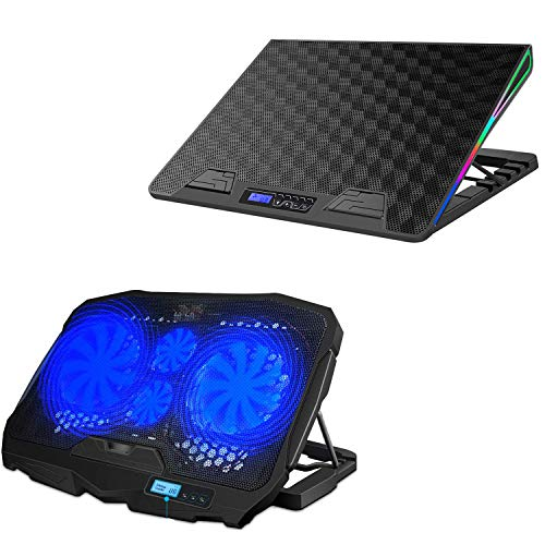 AICHESON RGB Laptop Cooling Pad and 4 Fans Blue Laptop Cooling pad Combination Set, Ergonomically Multiple Heights