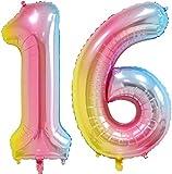 40 inch Number Balloons Foil Helium - 2 PCs Balloons for Birthday Party Decorations Mylar Rainbow Digital Jumbo Balloons for Wedding Anniversary (Rainbow, NO.16)