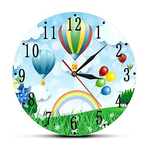 Reloj de Pared con diseño de Globos de Aire Caliente para habitación de niños, Reloj de Pared con Estampado silencioso sin tictac, Paisaje de Primavera, decoración artística para guardería