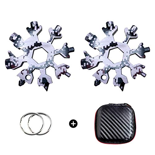 18-in-1 Snowflake Multi Tool, Stainless Steel Snowflake Multitool, Bottle Opener, Flat Phillips Screwdriver Kit, Durable and Portable to Take, Great Christmas Gift 2 Pack (Camouflage)
