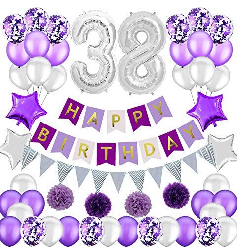 Colorpartyland - Juego de decoraciones de cumpleaños, color morado y plateado, guirnalda de papel con número 38 globos para mujer