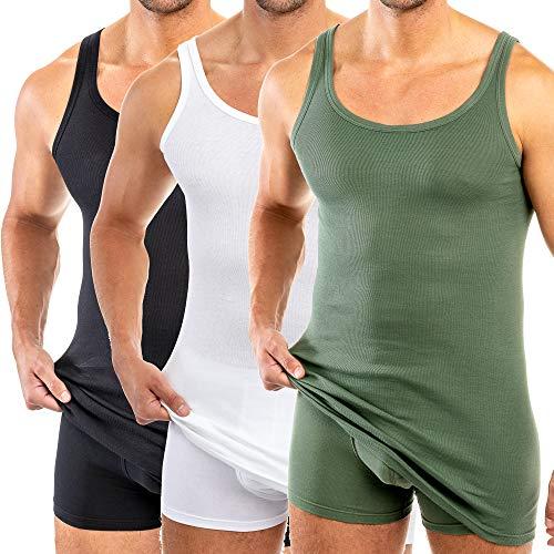 HERMKO 3007 3er Pack extralanges Herren Unterhemd (+10 cm) Tank Top aus 100% Baumwolle, Größe:D 8 = EU XXL, Farbe:Mix w/s/o