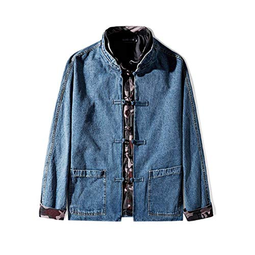 XIELH Heren Losse Tang Pak Gesp Denim Jakcet Voor Mannen Stand Kleur Match Mannelijke Chinese Cropped Jean Jacket