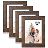 LaVie Home 5x7 Picture Frames(4 Pack,Dark Brown) Wood Texture Photo Frame with High Definition Glass for Wall Mount & Table Top Display, Set of 4 Zest Collection