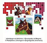Pracht Creatives Hobby P90034-63501 - Pixel Spaß Bastelset 14, für 4 Medaillons, Schlüsselanhänger, für Kinder, Jungen und Mädchen, ideal als kleines Geschenk, Mitgebsel, für den Kindergeburtstag