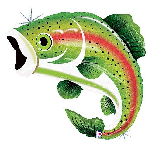 Betallic Regenbogenforelle Fisch Form Angeln Geburtstag Party Vater Opa 29 Ballon Netzteil