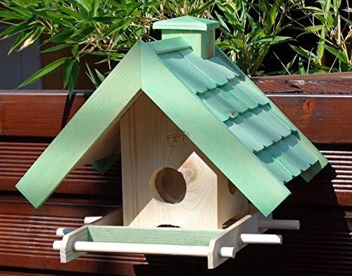 Vogelfutterhaus,BEL-X-VOWA3-moos002 Großes Vogelhäuschen + 5 SITZSTANGEN, KOMPLETT mit Futtersilo + SICHTGLAS für Vorrat PREMIUM Vogelhaus - ideal zur WANDBESTIGUNG - vogelhäuschen, Futterhäuschen WETTERFEST, QUALITÄTS-SCHREINERARBEIT-aus 100% Vollholz, Holz Futterhaus für Vögel, MIT FUTTERSCHACHT Futtervorrat, Vogelfutter-Station Farbe grün moosgrün lindgrün natur/grün, MIT TIEFEM WETTERSCHUTZ-DACH für trockenes Futter