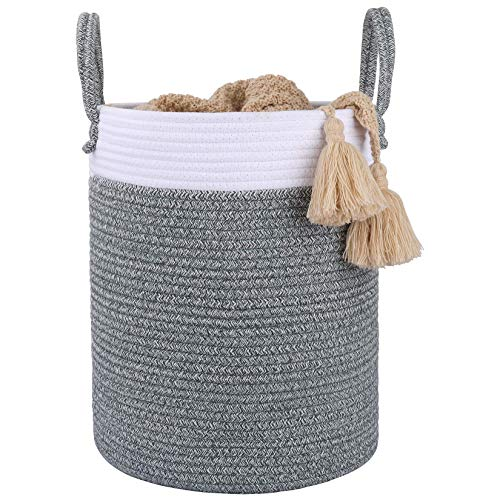 """LA JOLIE MUSE 16"""" Large Cotton Rope Woven Basket with Handles Organization and Storage Bin Natural and Safe for Baby Kids Toy Nursery Laundry 16 X 14 X 14 Inch White Gray"""