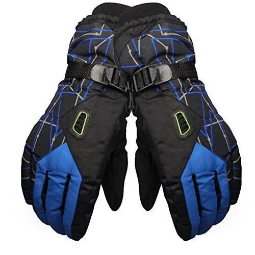 Beetest Gants de Ski, Hiver Coupe-Vent Thermique Gants de Ski pour Hommes Femmes Ski Chasse Mountain Bike Moto Conduite Sports de Plein Air Bleu