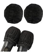 使い捨て マイクカバー 100個セット 不織布製 マイクロフォン カバー マイクキャップ 抗菌 防塵 雑音防止 カラオケ用 ブラック