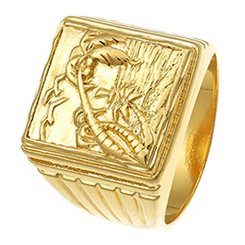 Ai.Moichien Vintage Rings Coconut Tree Carved Men 24K Gold Plated Tarnish Resistant Knuckle Chunky Statement Band Rings