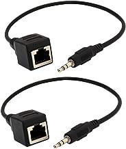 TraderPlus 2 Pack 3.5mm Stereo Audio to RJ45 Female Socket Adapter Extender Over Cat5/6
