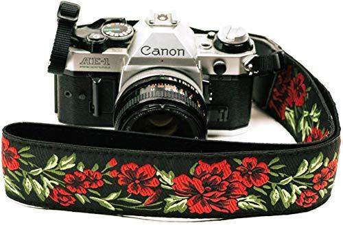 Correa de cámara con rosas para cámaras DSLR – Elegante correa universal de algodón para réflex – Correa de hombro y cuello para Canon, Nikon, Pentax, Sony, Fujifilm y cámara digital