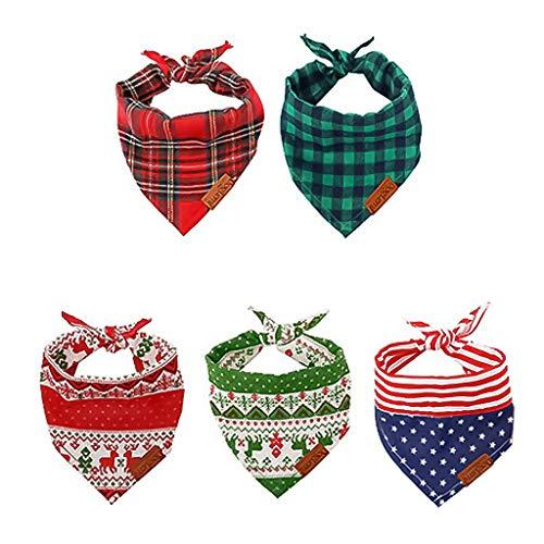 Zeraty 5 Pack Weihnachten Hundehalstuch für kleine Dog Bandana Plaid Pet Baumwollschals mit Hirschmuster oder Small Large Dogs Cats Rot und Grün