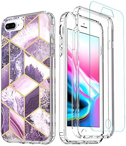 TiiParPar Marble iPhone 7 Plus Case with Screen Protector iPhone 8 Plus Case Clear PC 2 in 1 product image