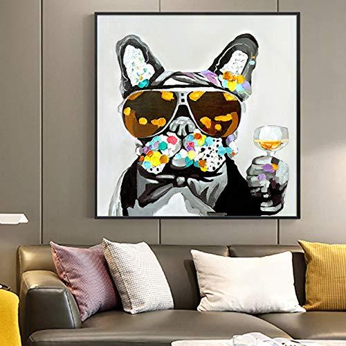 ZGZART Animal Abstracto con Gafas, Perro con Copa de Vino, póster artístico, Pintura en Lienzo, Imagen, decoración de la Sala de Estar del hogar, 60x60 cm (sin Marco)
