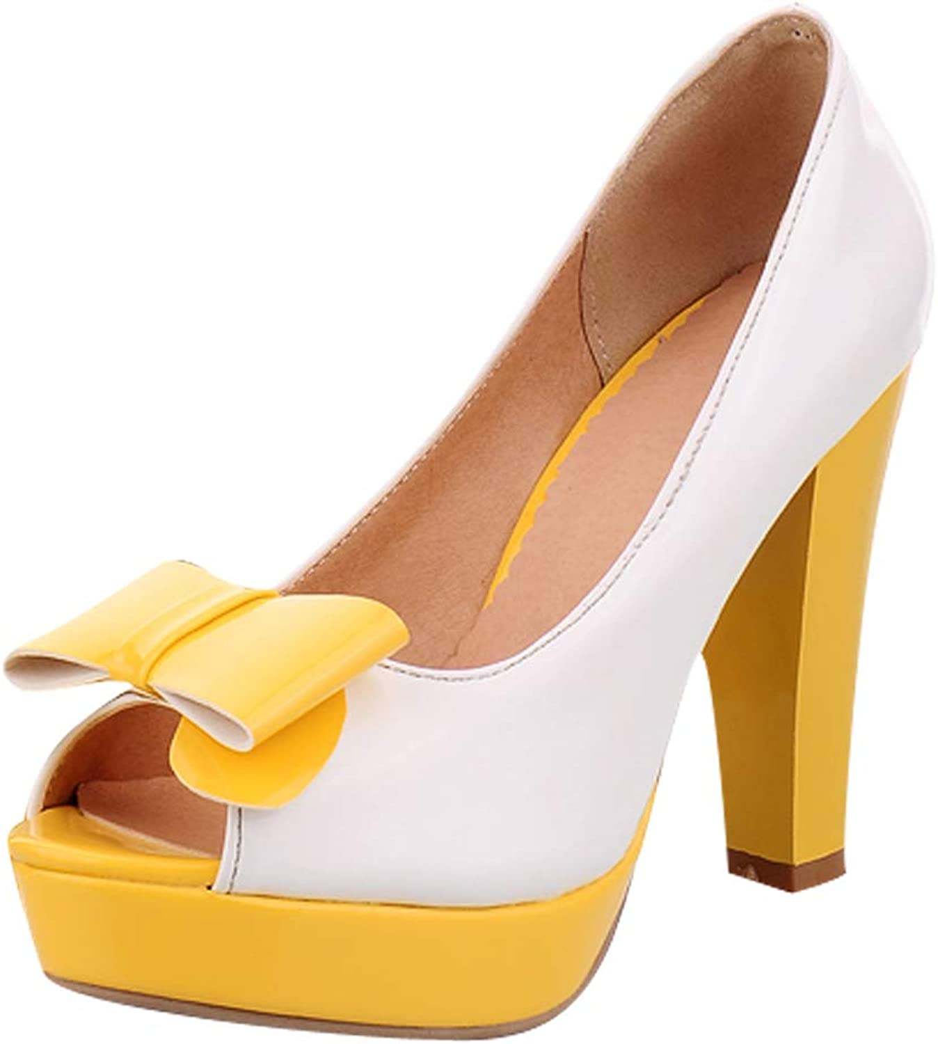 Charm Foot Womens Platform High Heel Peep Toe Pumps