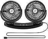 Car Fan,USB Powered Dual Head Car,Electric Car Cooling Fan,360 Degree Adjustable 3 Speed Adjustable Auto Low Noise Automobile Vehicle Fan,Mini Desk Fan Home Office